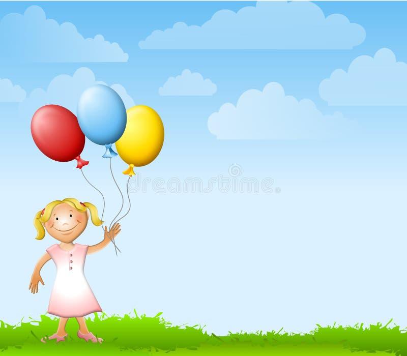 La holding della ragazza Balloons la priorità bassa illustrazione vettoriale