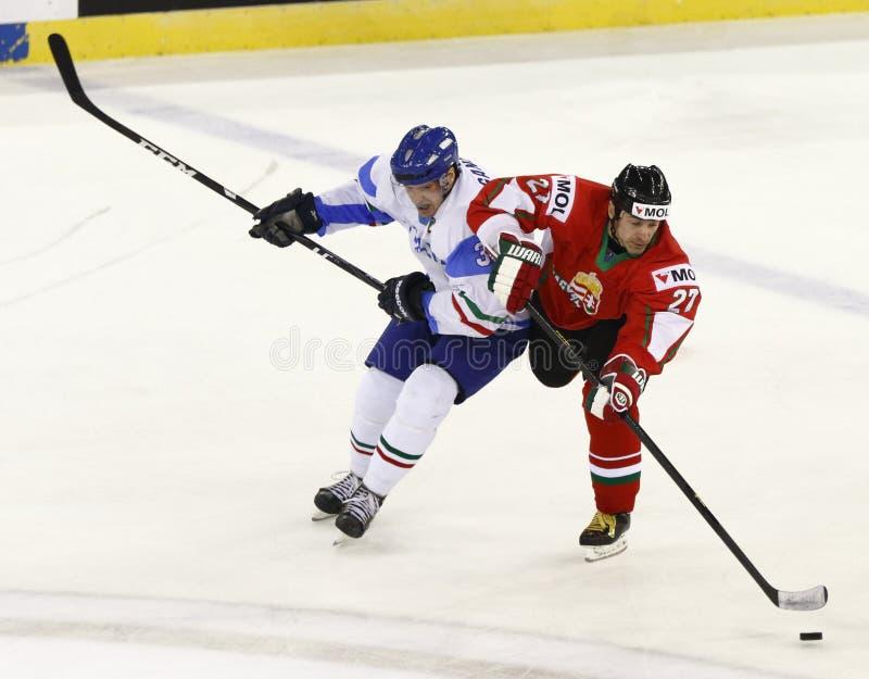 La Hongrie contre le match de hockey sur glace de championnat du monde de l'Italie IIHF photos stock
