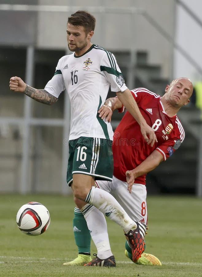 La Hongrie contre les Hollandes Le football 2016 de qualificateur d'euro de l'UEFA de l'Irlande du Nord m image stock