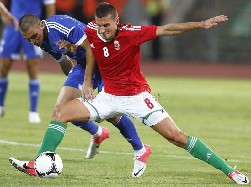La Hongrie contre les parties de football amicales de l'Israël images stock