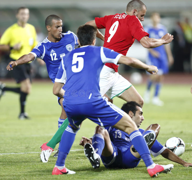 La Hongrie contre les parties de football amicales de l'Israël image libre de droits