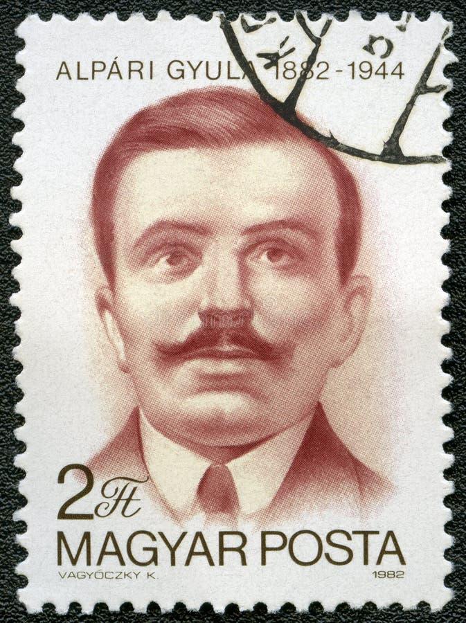 La HONGRIE - 1982 : expositions Gyula Alpari 1882-1944, communiste hongrois, martyre anti-fasciste images libres de droits