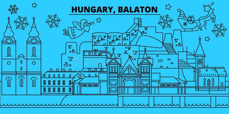 La Hongrie, horizon de vacances d'hiver de Balaton Le Joyeux Noël, bonne année a décoré la bannière avec Santa Claus hungary illustration stock