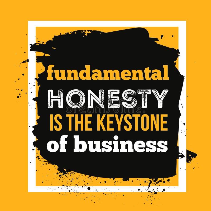 La honradez es la piedra angular del negocio Cita de la motivación de la tipografía libre illustration
