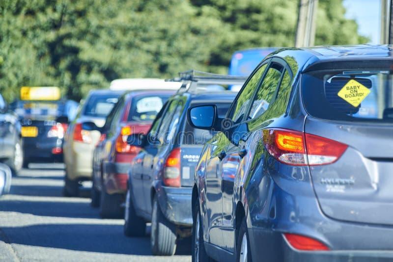 La hora de mayor congestión de vehículos Alto tráfico fotografía de archivo libre de regalías
