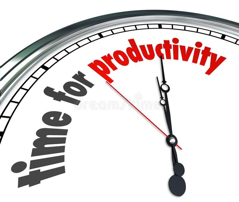 La hora para el funcionamiento de la eficacia del reloj de la productividad ahora consigue resultados stock de ilustración