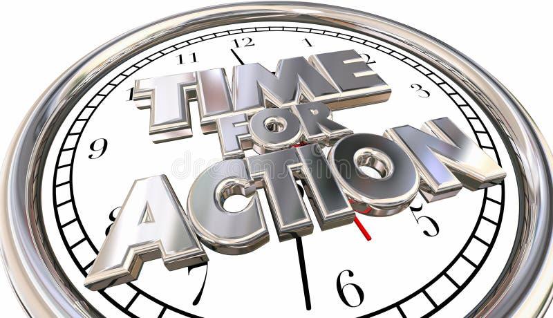 La hora para el reloj de la acción ahora mueve progreso tiene éxito palabras ilustración del vector