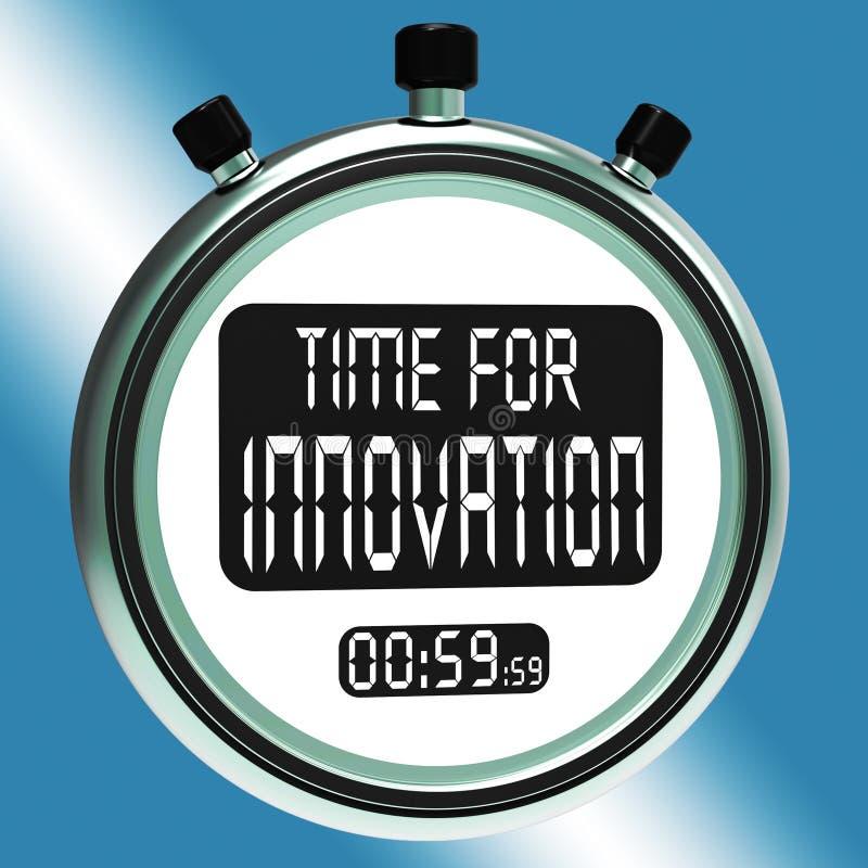 La hora para la innovación significa el desarrollo y la ingeniosidad creativos stock de ilustración