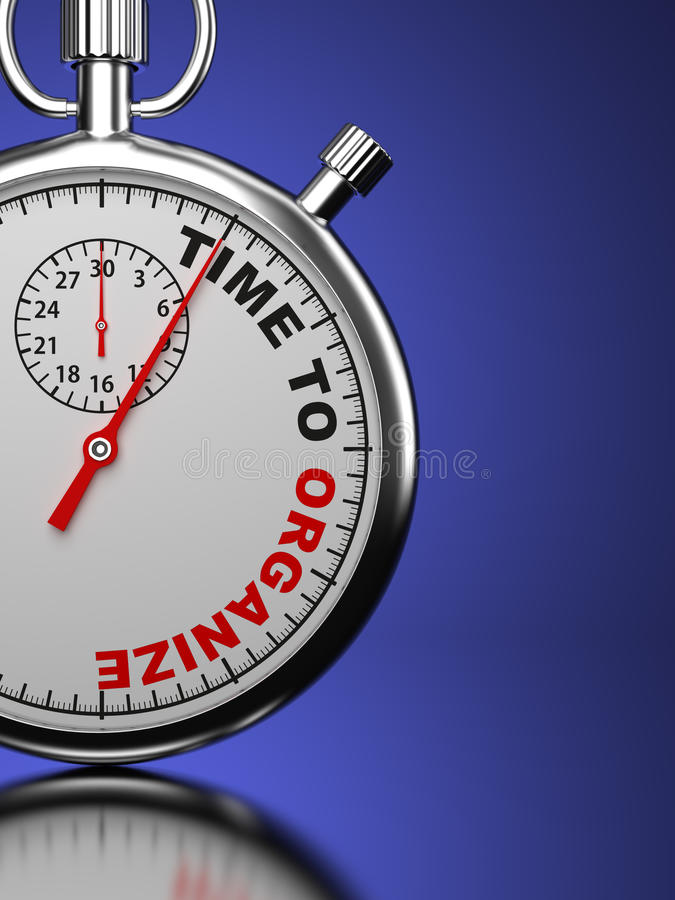 La hora para organiza, concepto del negocio. stock de ilustración