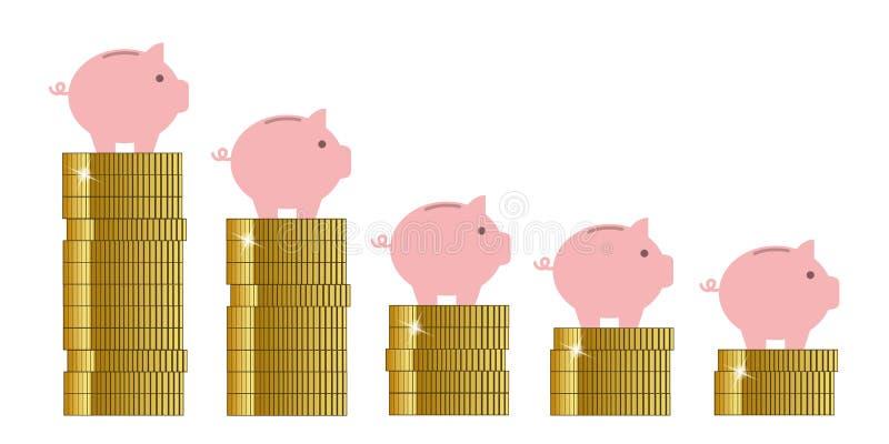 La hucha en ventas de oro de las monedas disminuye ilustración del vector