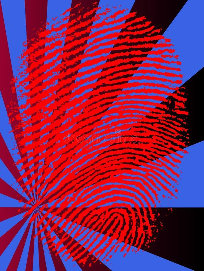 La huella digital roja se descolora stock de ilustración