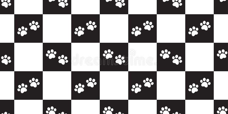 La huella inconsútil del vector del modelo de la pata del perro comprobó el carro aislado bufanda del ejemplo del fondo de la tej ilustración del vector