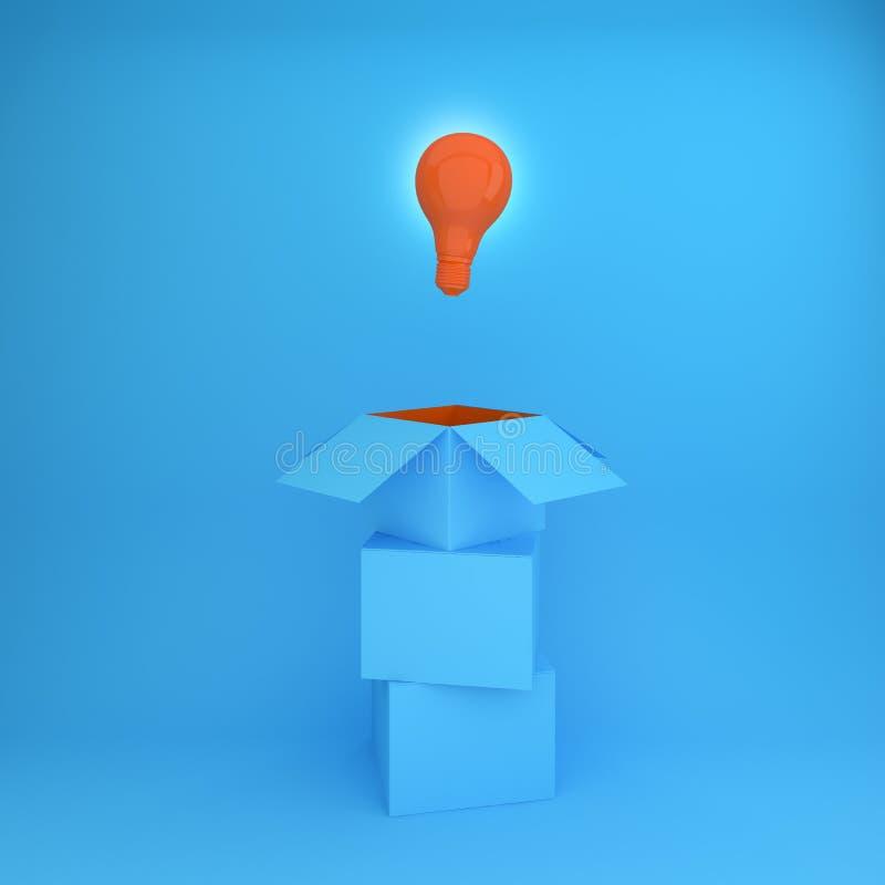 La idea creativa que brilla intensamente anaranjada de las bombillas piensa fuera de la caja, ilustración del vector