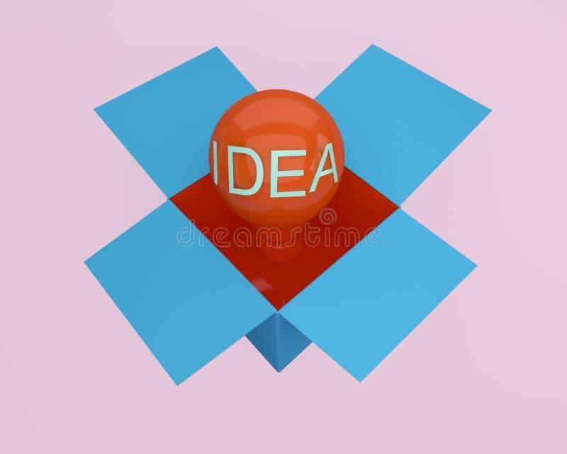 La idea creativa que brilla intensamente roja de las bombillas piensa fuera de la caja, idea mínima del concepto El pensamiento c libre illustration