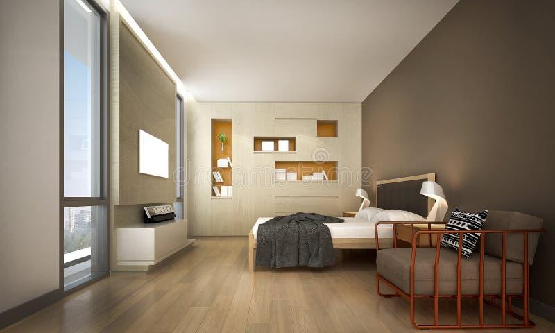 La idea del diseño de interiores del dormitorio del desván libre illustration