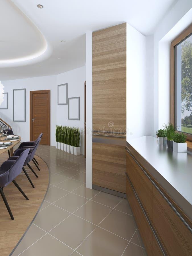 La idea del diseño del refrigerador incorporado en la fachada de a ilustración del vector