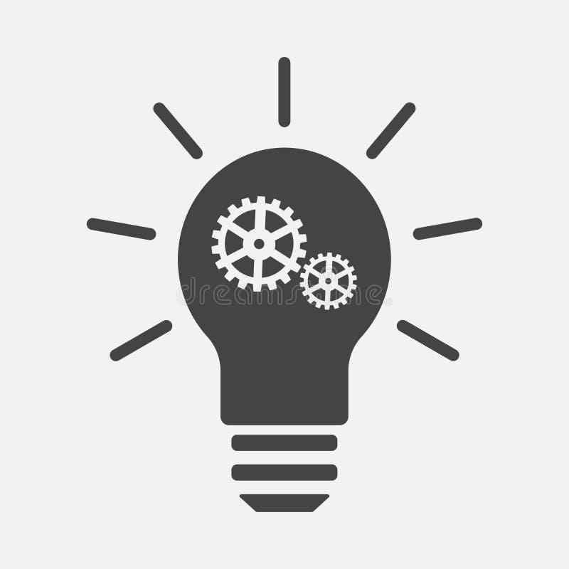 La idea del icono del vector se presentó Icono de la bombilla con un engranaje ilustración del vector