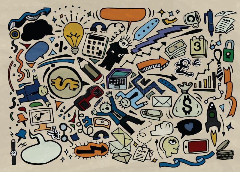 La idea del negocio garabatea los iconos fijados Ilustración del vector stock de ilustración