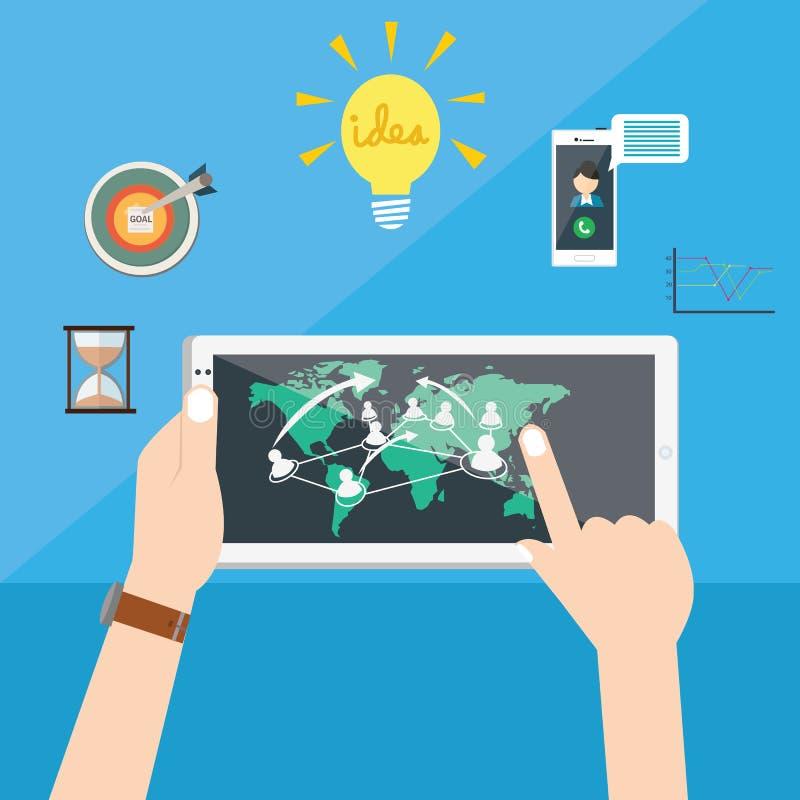 La idea del negocio interconectada conecta la tecnología del ingenio de la gente en todo el mundo que crea oportunidad stock de ilustración