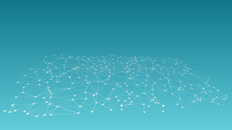 La idea del procesamiento de señales digitales, 3d creativo conectó las líneas modelo stock de ilustración