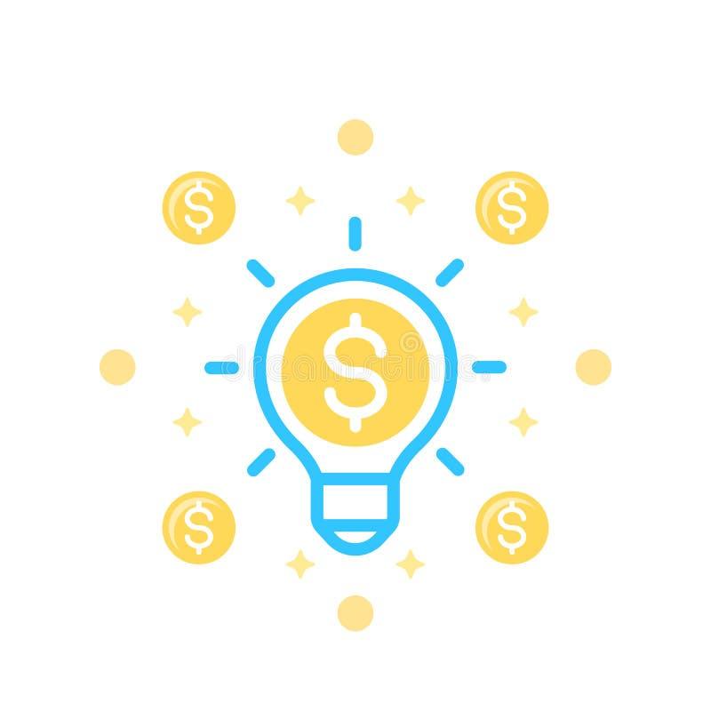 La idea es icono del dinero en blanco ilustración del vector