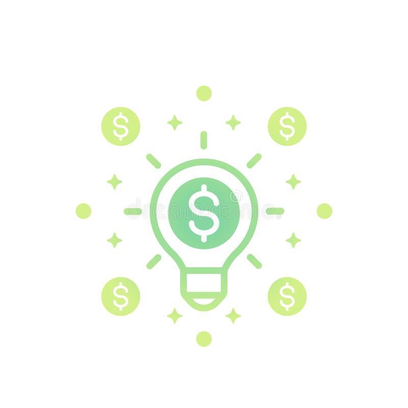 La idea es icono del vector del dinero en blanco ilustración del vector