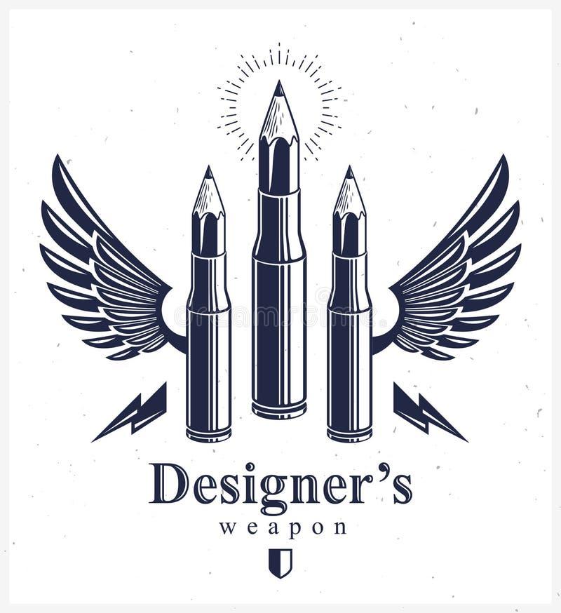 La idea es un concepto del arma, arma de un diseñador o de una alegoría del artista mostrada como cartucheras coas alas del arma  ilustración del vector