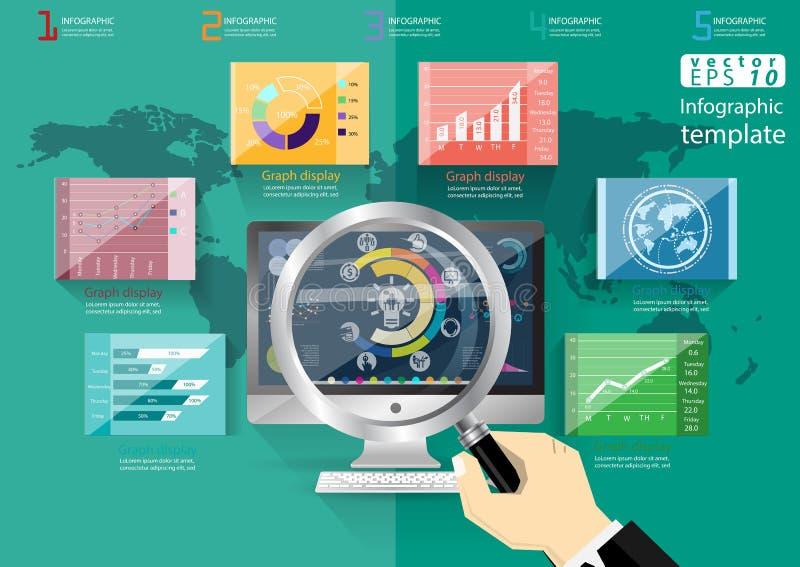 La idea y el concepto modernos del mundo del negocio Vector la plantilla de Infographic del ejemplo con el icono, mano, lupa, grá ilustración del vector