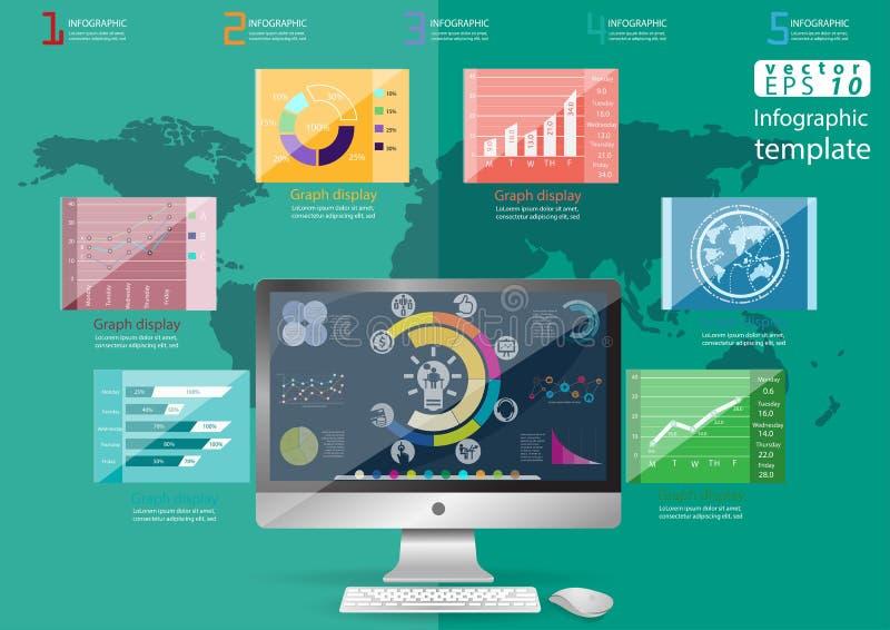 La idea y el concepto modernos del mundo del negocio Vector la plantilla de Infographic del ejemplo con el icono, mano, lupa, grá stock de ilustración