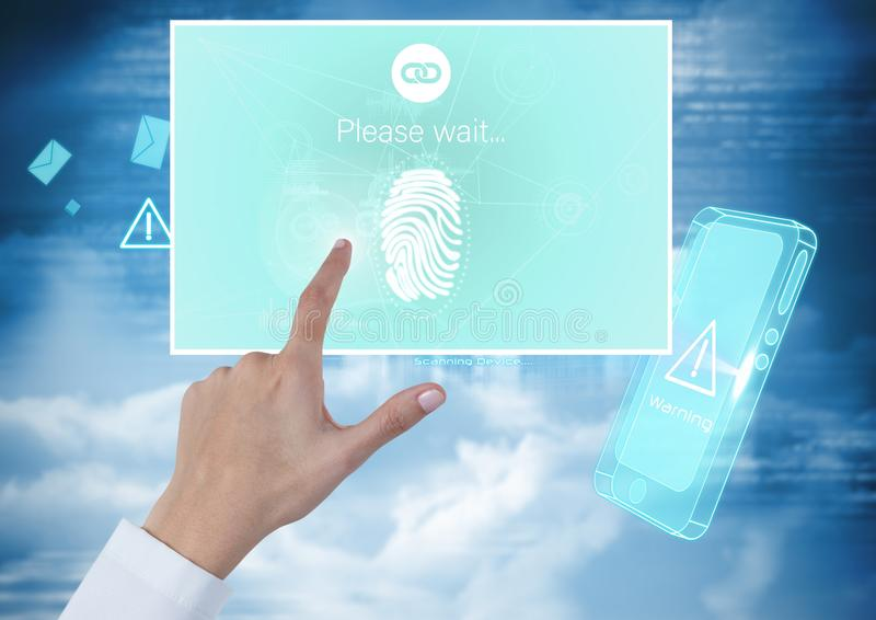 La identidad conmovedora de la mano verifica el interfaz móvil del App de la huella dactilar fotografía de archivo libre de regalías