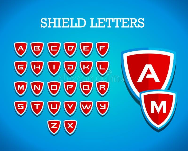 La identidad de marcado en caliente de las letras del escudo logotipo corporativo del vector diseña la plantilla, emblema, cresta stock de ilustración