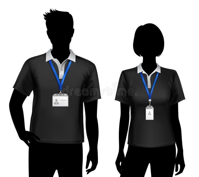 La identificación de las siluetas de los empleados carda insignias stock de ilustración