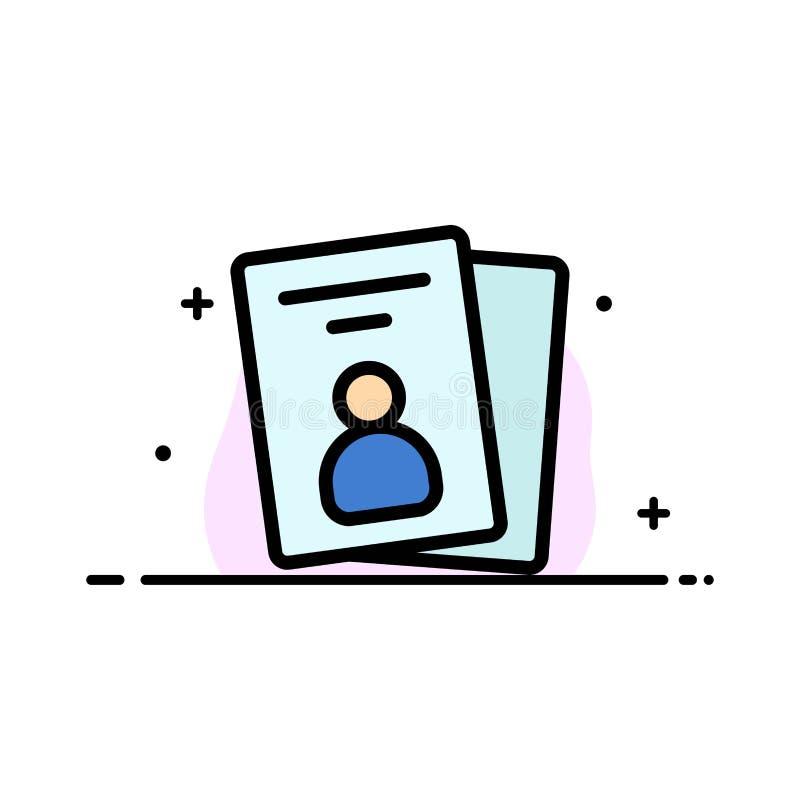 La identificación, tarjeta, tarjeta de la identificación, línea plana del negocio del paso llenó la plantilla de la bandera del v libre illustration