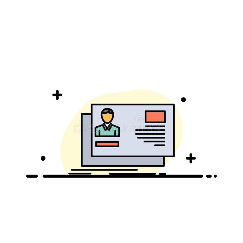 La identificación, usuario, identidad, tarjeta, línea plana del negocio de la invitación llenó la plantilla de la bandera del vec libre illustration