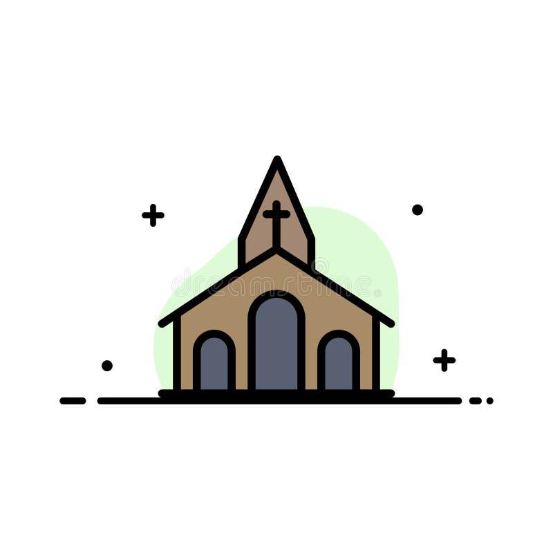 La iglesia, celebración, cristiano, cruz, línea plana del negocio de Pascua llenó la plantilla de la bandera del vector del icono libre illustration