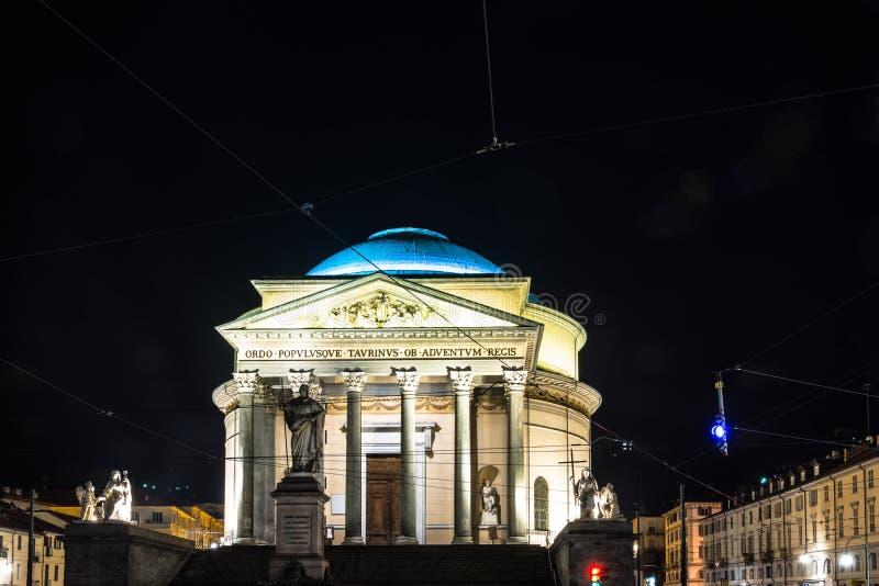 La iglesia de Gran Madre en Turín por noche imágenes de archivo libres de regalías