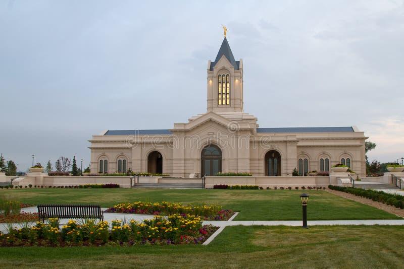 La iglesia de Jesus Christ del templo moderno de los santos en el fuerte C imagen de archivo libre de regalías