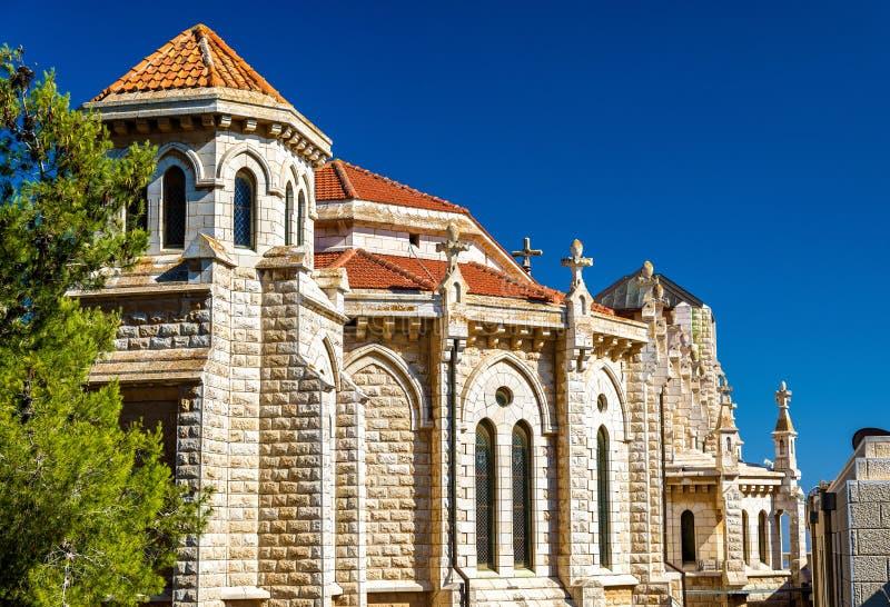 La iglesia de Salesian de Jesús el adolescente en Nazaret imagen de archivo libre de regalías