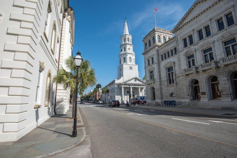 La iglesia de San Miguel en Charleston, SC imágenes de archivo libres de regalías