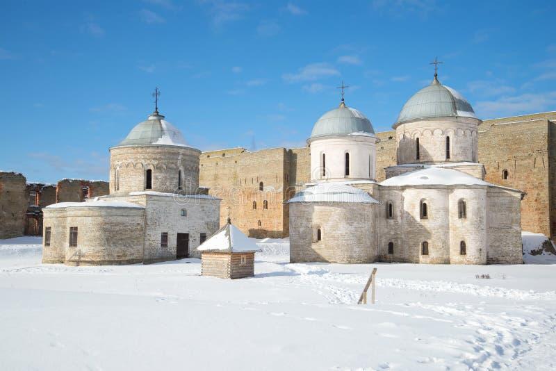 La iglesia de San Nicolás y de la catedral de la suposición dentro de las paredes de la fortaleza de Ivangorod, tarde soleada de  fotografía de archivo libre de regalías