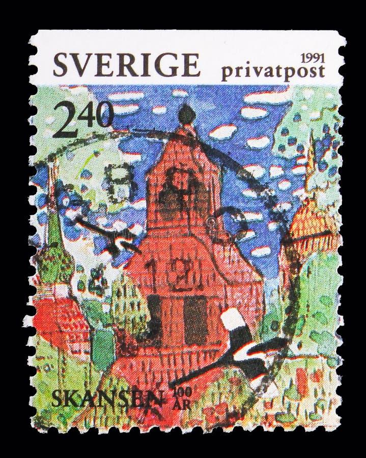 La iglesia de Seglora, rebaja sella - el centenario del parque de Skansen, acción imagen de archivo libre de regalías