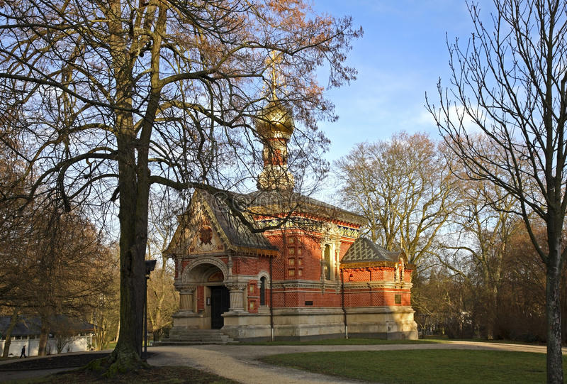 La iglesia de toda santifica (la capilla rusa) en mún Homburg alemania fotos de archivo libres de regalías