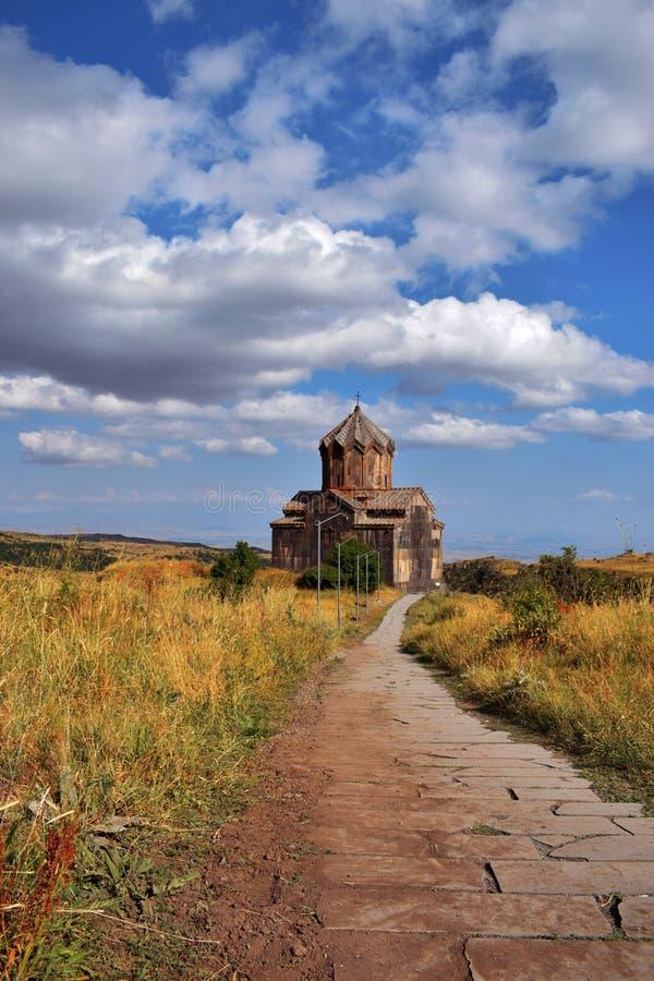 La iglesia de Vahramashen cerca de la fortaleza de Amberd imagen de archivo libre de regalías