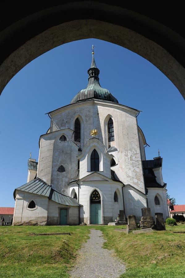 La iglesia del peregrino de St John de Nepomuk en Zelena Hora cerca de Zdar nad Sazavou, República Checa, patrimonio mundial Si fotografía de archivo