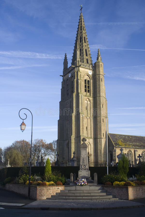 La iglesia del santo Leger, Socx, Francia septentrional fotografía de archivo libre de regalías