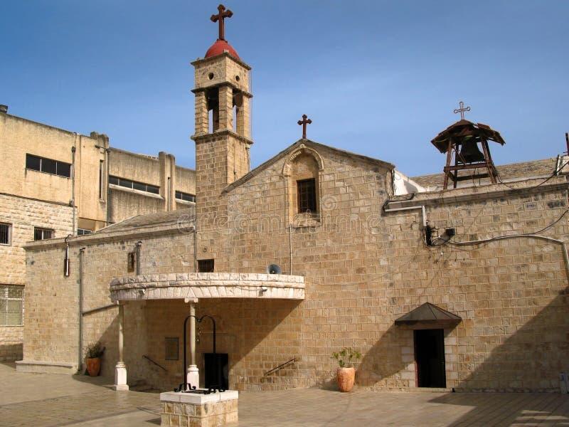 La iglesia ortodoxa griega del anuncio, Nazareth ES fotografía de archivo libre de regalías