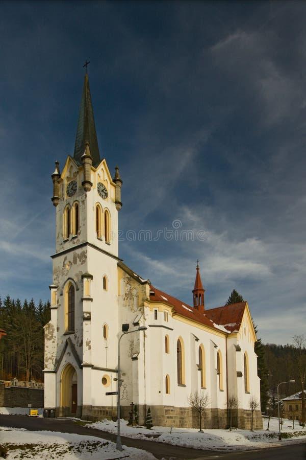 La iglesia parroquial católica de la transfiguración del señor en Josef Dul foto de archivo libre de regalías