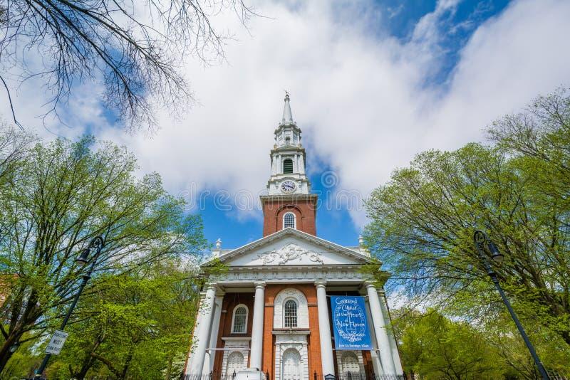 La iglesia unida en el verde en New Haven, Connecticut fotografía de archivo