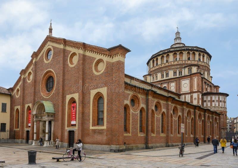 La iglesia y el convento del delle Grazie, el hogar de la última cena de Leonardo, Milán, Italia de Santa Maria fotografía de archivo libre de regalías