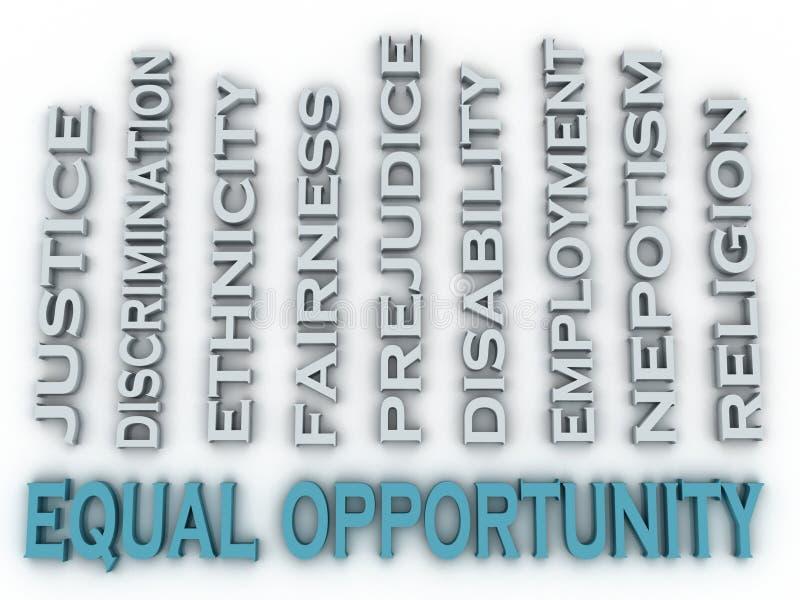 la igualdad de oportunidades de la imagen 3d publica el fondo de la nube de la palabra del concepto ilustración del vector